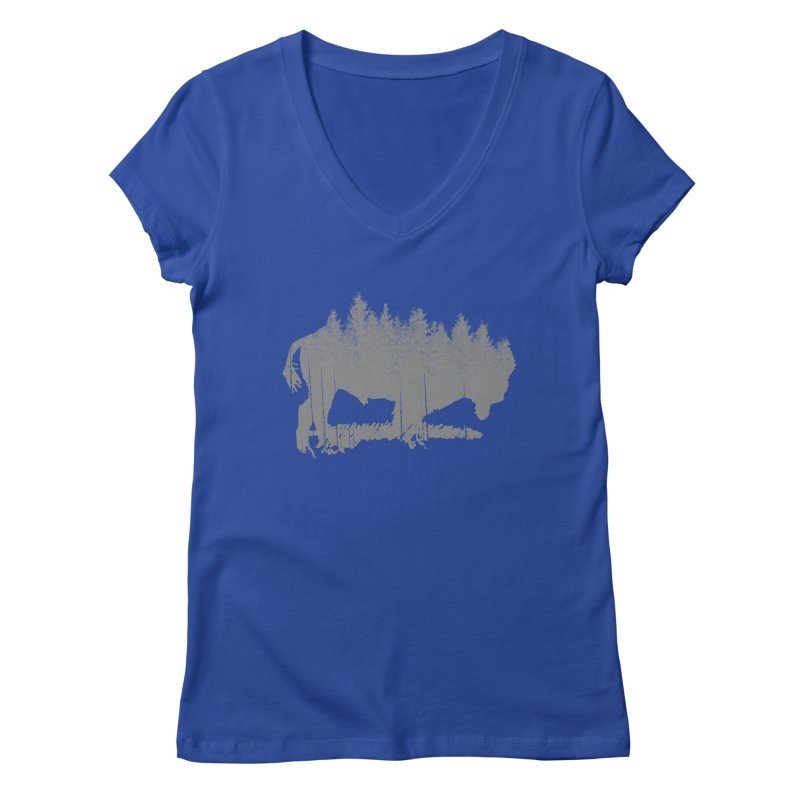 Bison for the Trees Women's Regular V-Neck by CRANK. outdoors + music lifestyle clothing
