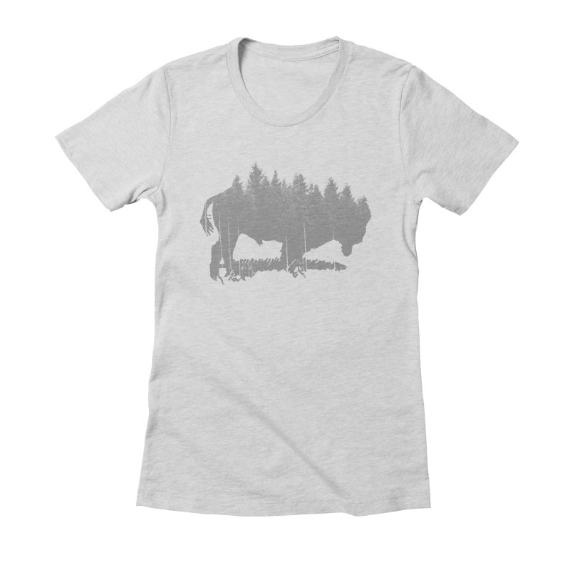 Bison for the Trees Women's Fitted T-Shirt by CRANK. outdoors + music lifestyle clothing
