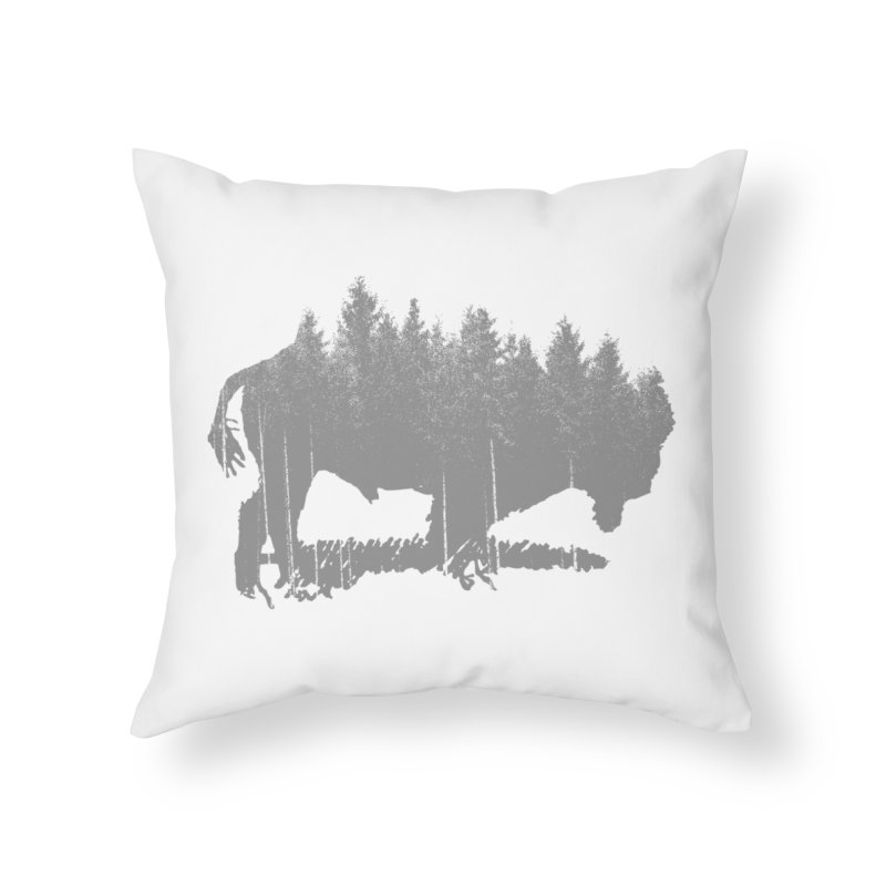 Bison for the Trees Home Throw Pillow by CRANK. outdoors + music lifestyle clothing