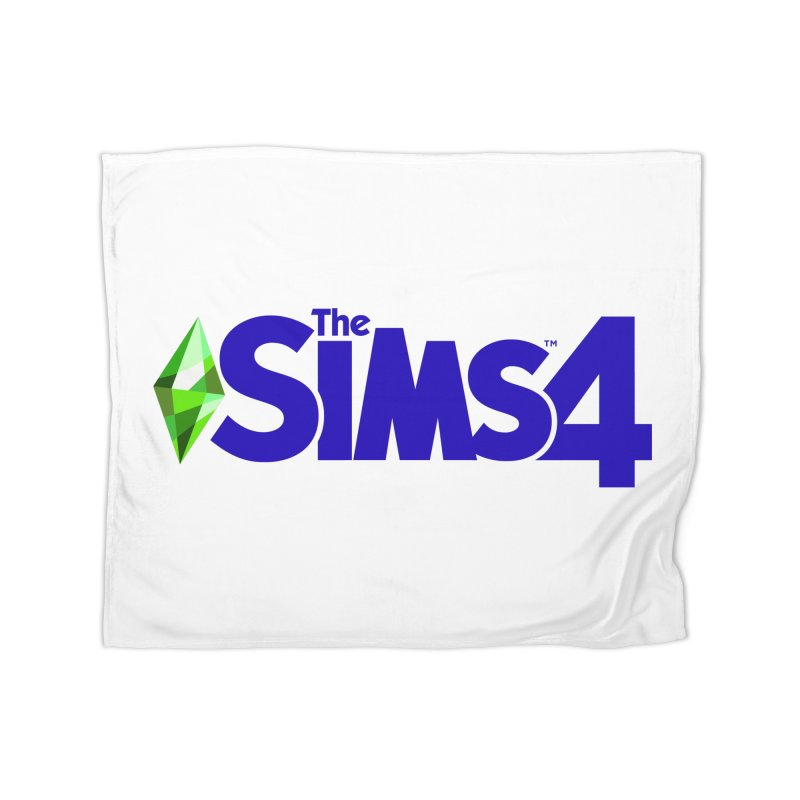 The Sims 4 Logo - Blue Home Fleece Blanket Blanket by The Sims Official Threadless Store
