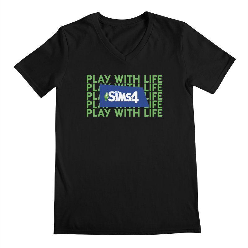 The Sims 4 Play With Life Men's Regular V-Neck by The Sims Official Threadless Store