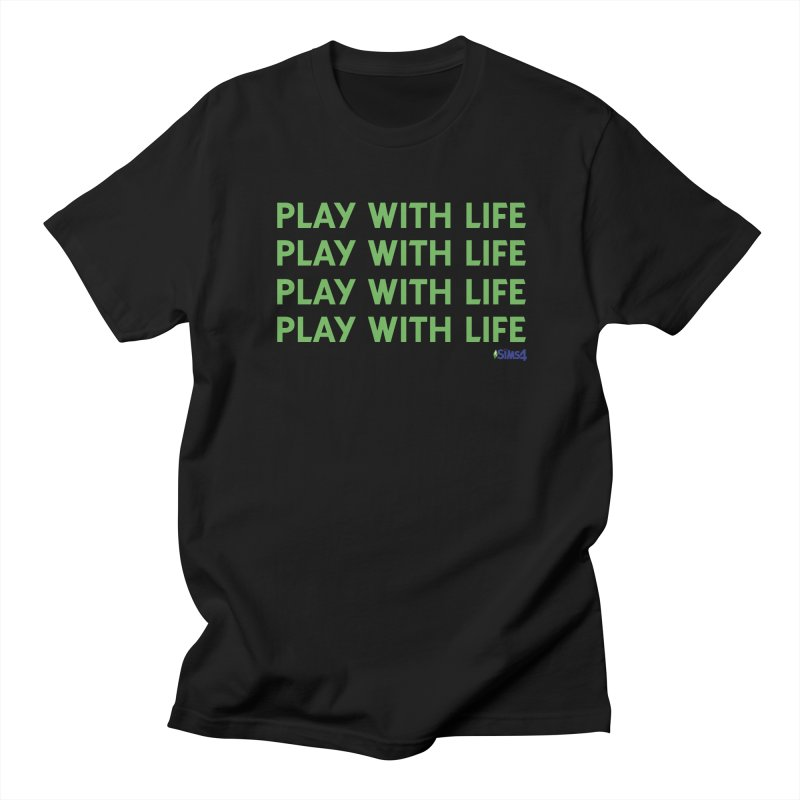 Play With Life Green Repeating in Green in Men's Regular T-Shirt Black by The Sims Official Threadless Store