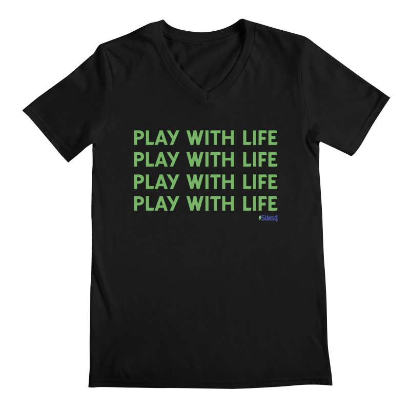 Play With Life Green Repeating in Green Men's Regular V-Neck by The Sims Official Threadless Store