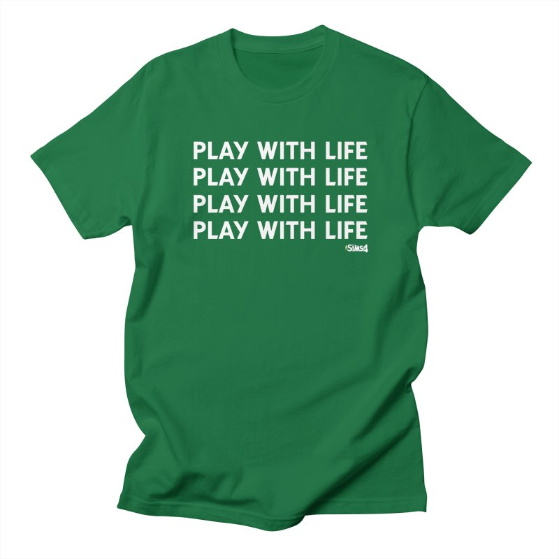 Play With Life Repeating in White in Men's Regular T-Shirt Kelly Green by The Sims Official Threadless Store