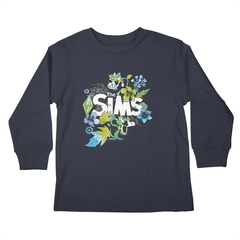 The Sims Garden - Blue Kids Longsleeve T-Shirt by The Sims Official Threadless Store