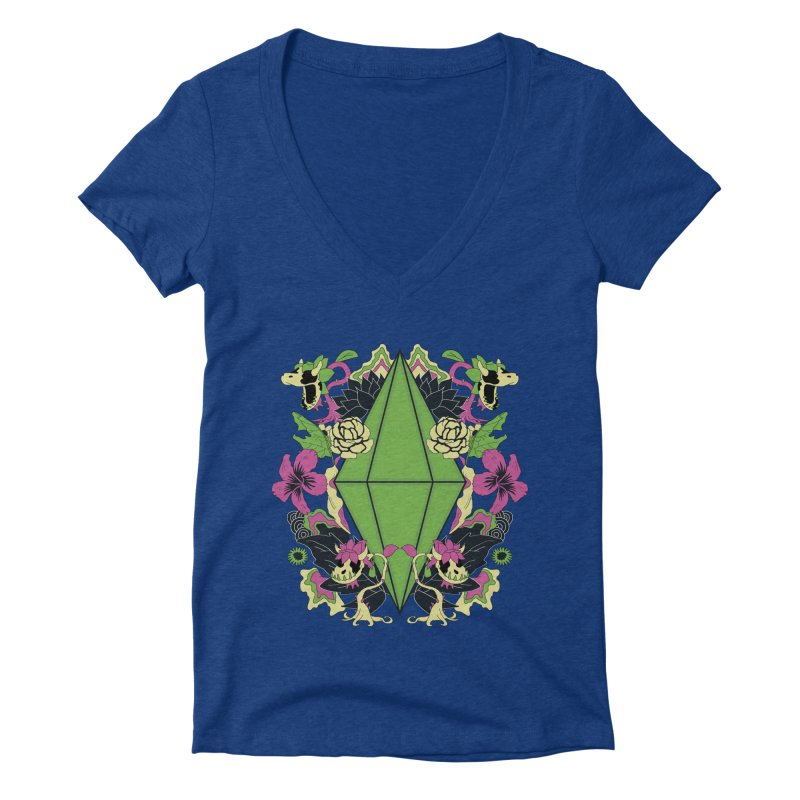 Floral Plumbob Women's Deep V-Neck V-Neck by The Sims Official Threadless Store