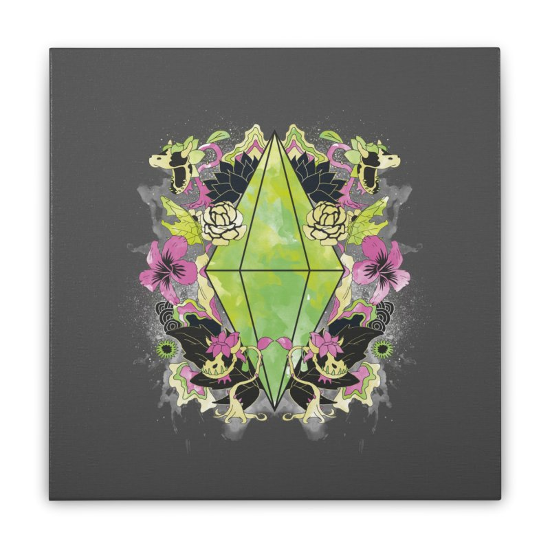 Floral Plumbob Home Stretched Canvas by The Sims Official Threadless Store