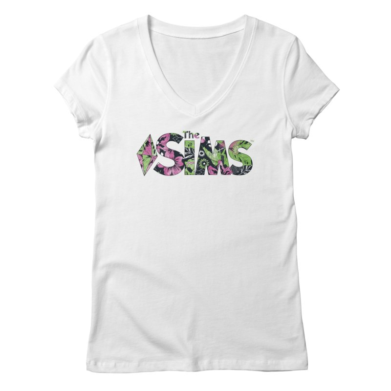 The Sims Florals Women's Regular V-Neck by The Sims Official Threadless Store