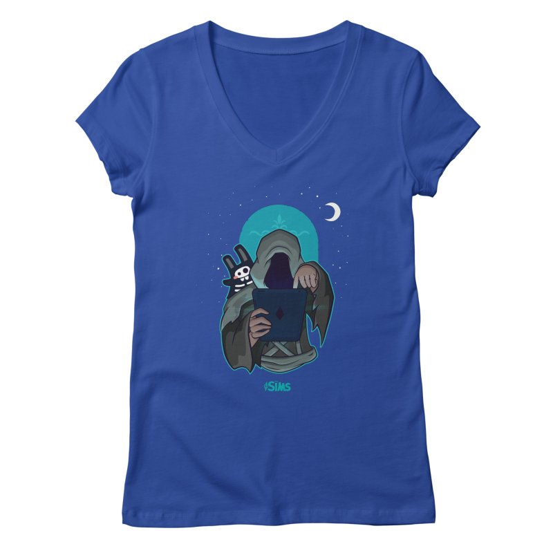 Grim Reaper - Teal Women's Regular V-Neck by The Sims Official Threadless Store