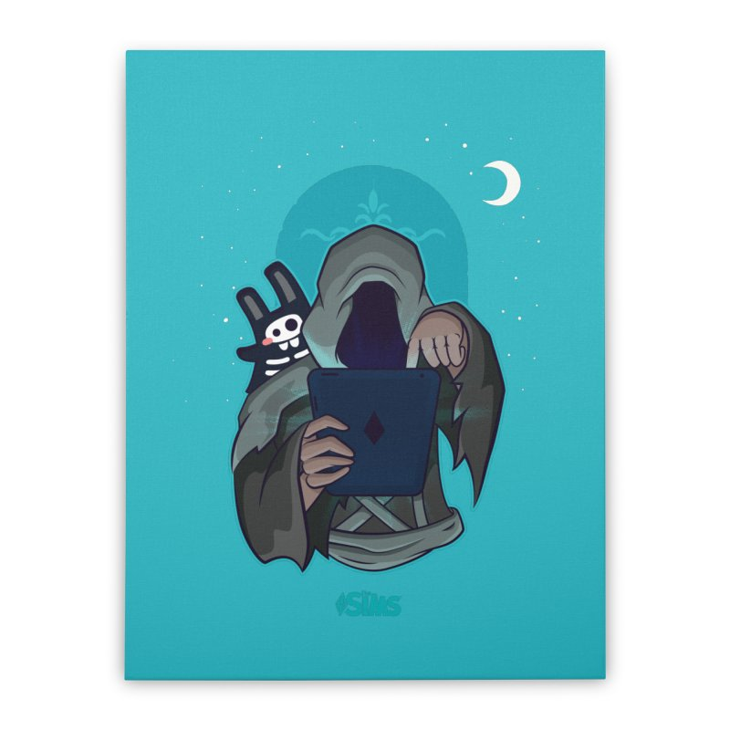 Grim Reaper - Teal Home Stretched Canvas by The Sims Official Threadless Store