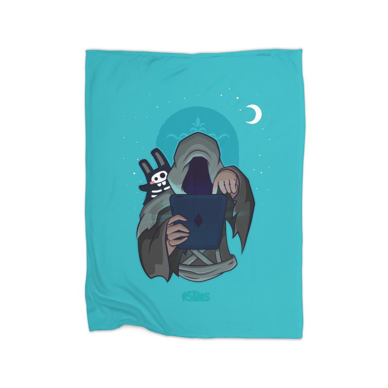 Grim Reaper - Teal Home Fleece Blanket Blanket by The Sims Official Threadless Store