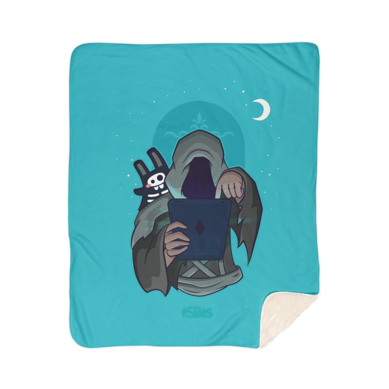 Grim Reaper - Teal Home Sherpa Blanket Blanket by The Sims Official Threadless Store
