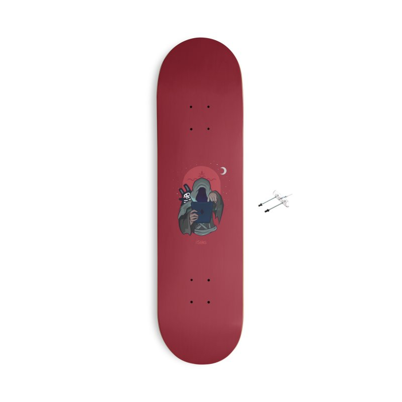 Grim Reaper - Red Accessories With Hanging Hardware Skateboard by The Sims Official Threadless Store