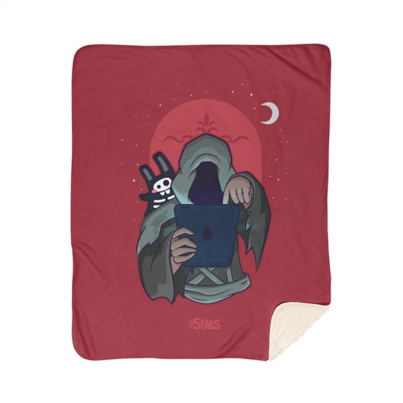 Grim Reaper - Red Home Sherpa Blanket Blanket by The Sims Official Threadless Store
