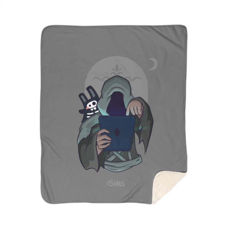Grim Reaper - Grey Home Sherpa Blanket Blanket by The Sims Official Threadless Store