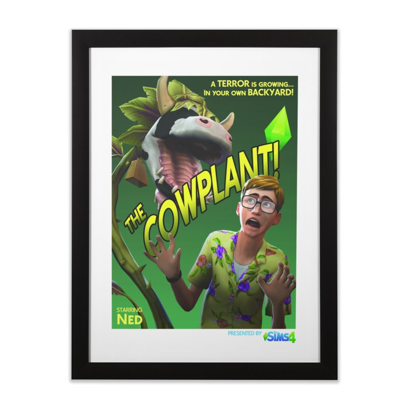 The Cowplant! in Framed Fine Art Print Black by The Sims Official Threadless Store
