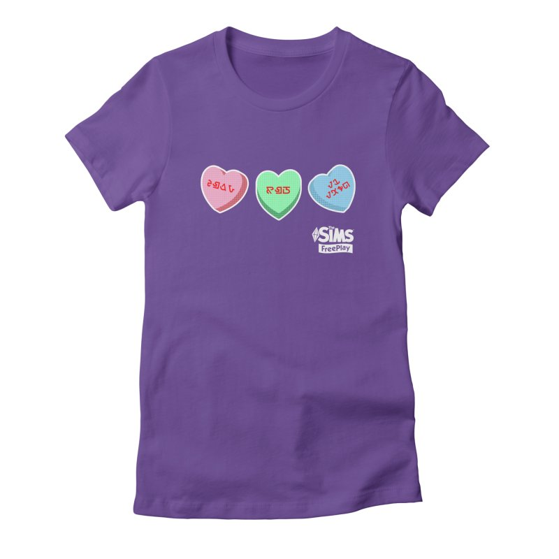 The Sims FreePlay Candy Hearts in Women's Fitted T-Shirt Purple by The Sims Official Threadless Store