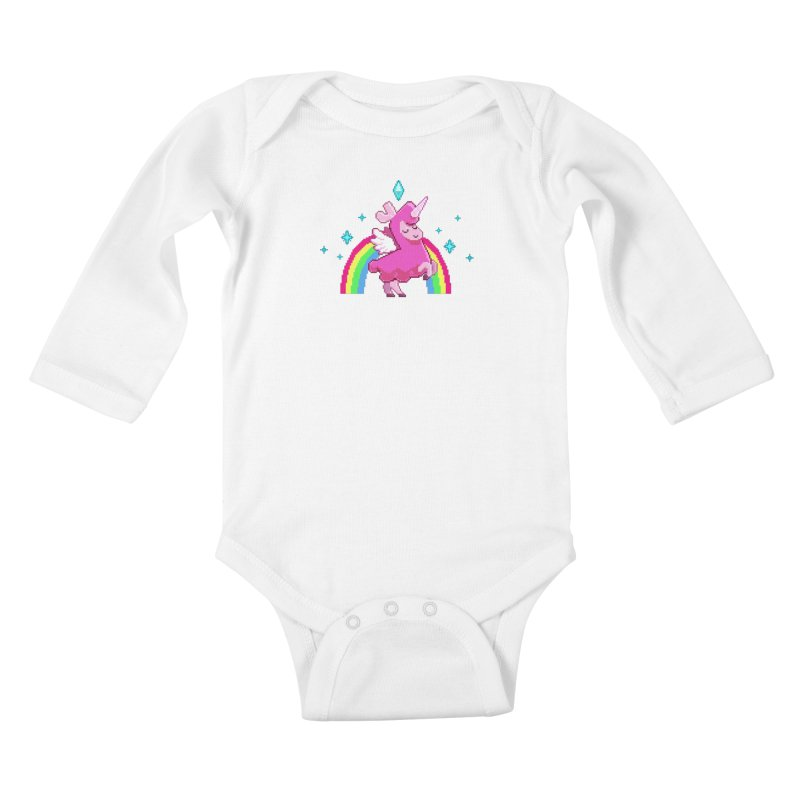 8-bit Llamacorn Kids Baby Longsleeve Bodysuit by The Sims Official Threadless Store
