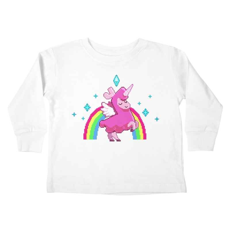 8-bit Llamacorn Kids Toddler Longsleeve T-Shirt by The Sims Official Threadless Store