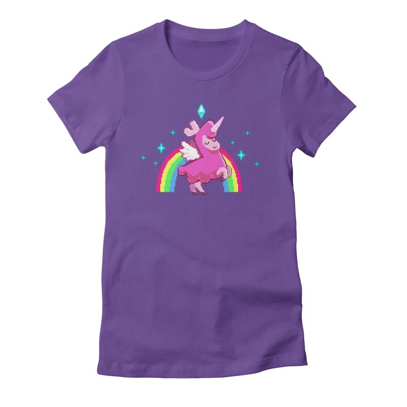 8-bit Llamacorn in Women's Fitted T-Shirt Purple by The Sims Official Threadless Store