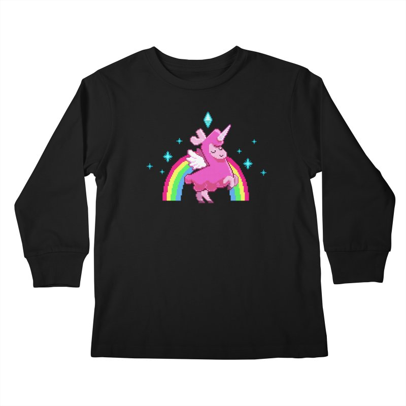 8-bit Llamacorn Kids Longsleeve T-Shirt by The Sims Official Threadless Store