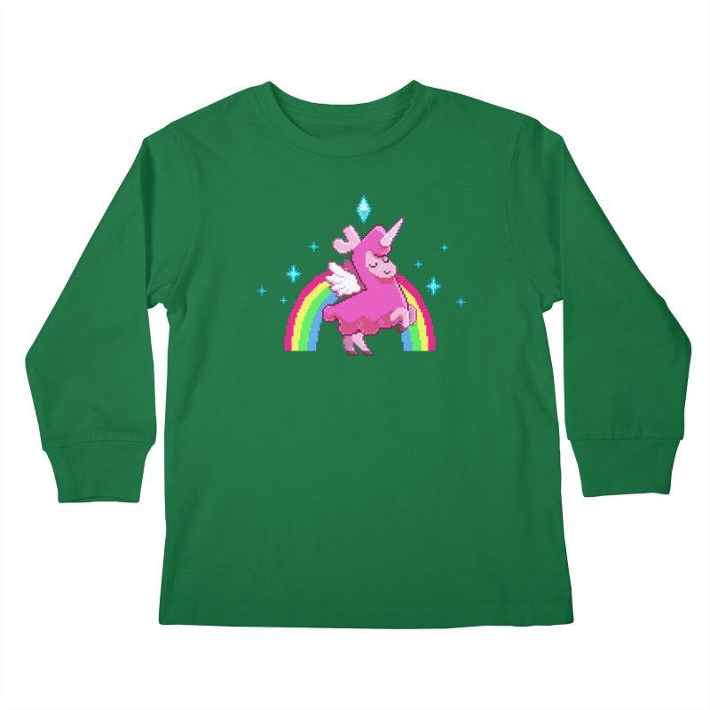 8-bit Llamacorn Kids Longsleeve T-Shirt by The Sims Official Threadless Store