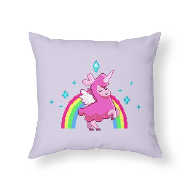 8-bit Llamacorn Home Throw Pillow by The Sims Official Threadless Store