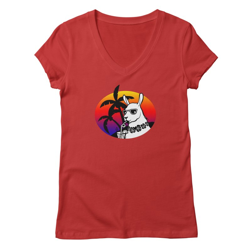 Tropi-Llama Women's Regular V-Neck by The Sims Official Threadless Store
