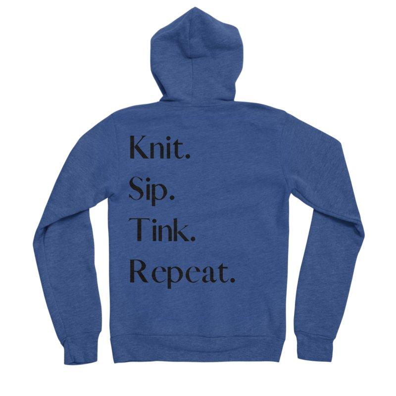 Knit. Sip. Tink. Repeat. - Black Men's Sponge Fleece Zip-Up Hoody by thespinnacle's Artist Shop