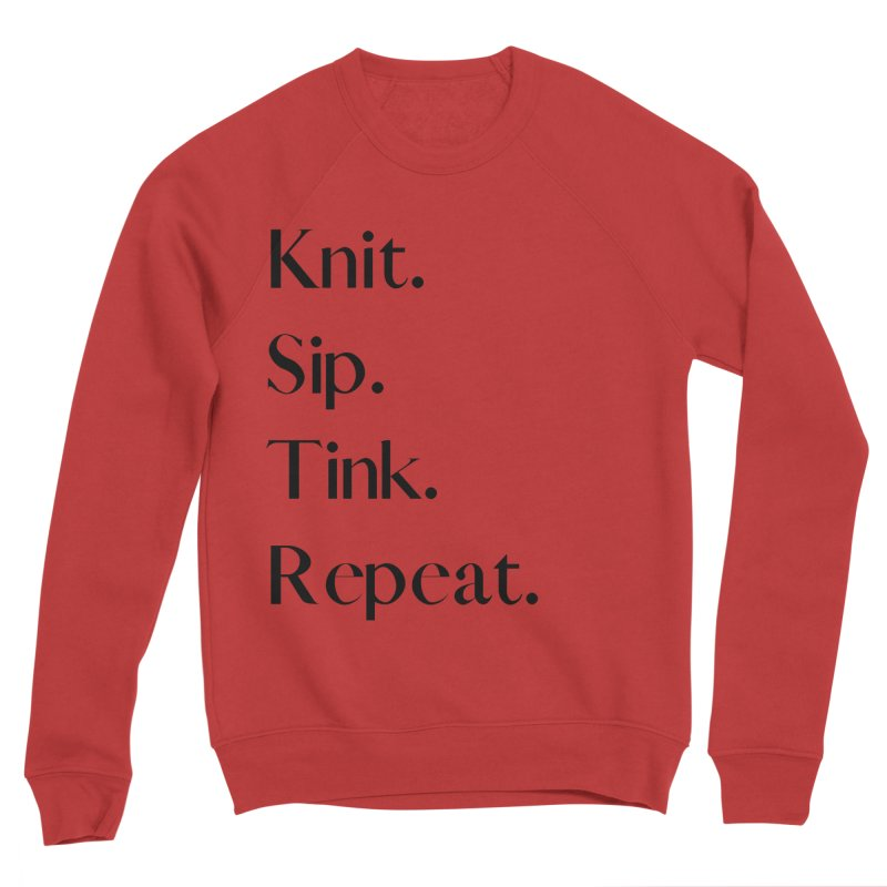 Knit. Sip. Tink. Repeat. - Black Men's Sponge Fleece Sweatshirt by thespinnacle's Artist Shop