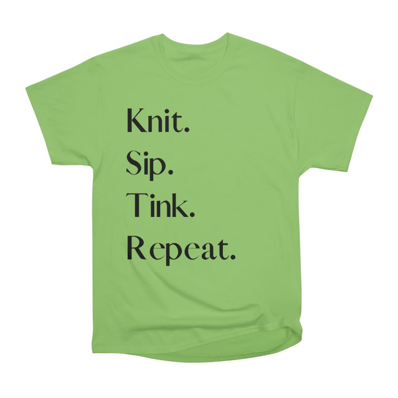 Knit. Sip. Tink. Repeat. - Black Men's Heavyweight T-Shirt by thespinnacle's Artist Shop