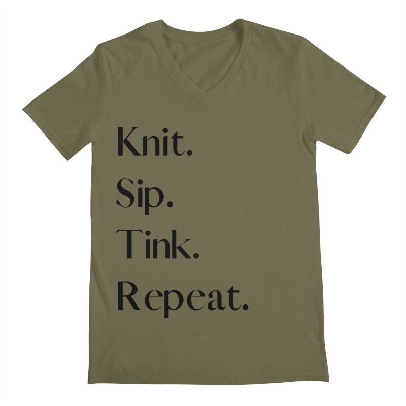 Knit. Sip. Tink. Repeat. - Black Men's Regular V-Neck by thespinnacle's Artist Shop