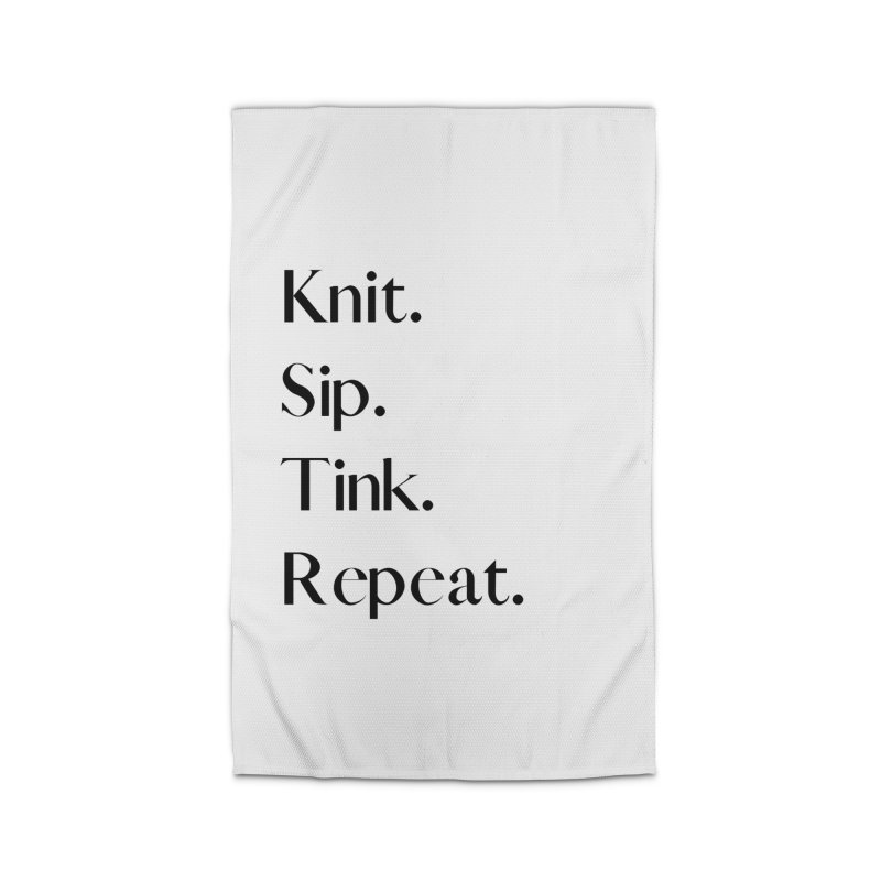 Knit. Sip. Tink. Repeat. - Black Home Rug by thespinnacle's Artist Shop