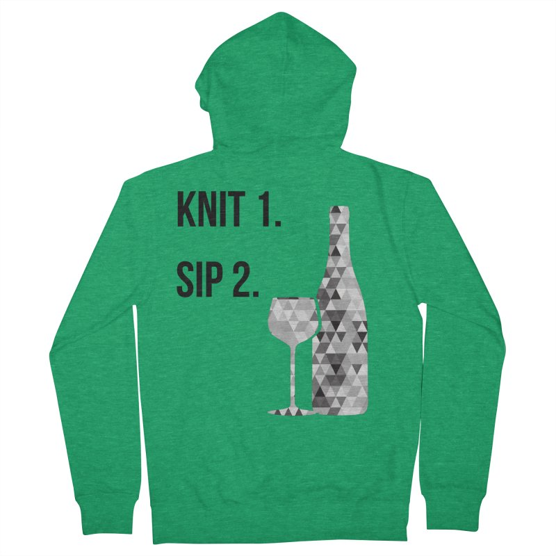 Knit One, Sip Two. - Black Women's French Terry Zip-Up Hoody by thespinnacle's Artist Shop