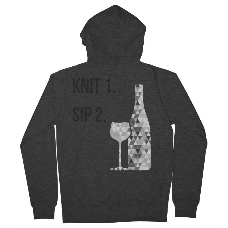 Knit One, Sip Two. - Black Men's French Terry Zip-Up Hoody by thespinnacle's Artist Shop