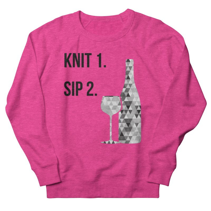 Knit One, Sip Two. - Black Men's French Terry Sweatshirt by thespinnacle's Artist Shop