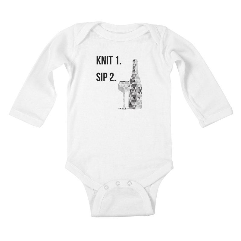 Knit One, Sip Two. - Black Kids Baby Longsleeve Bodysuit by thespinnacle's Artist Shop