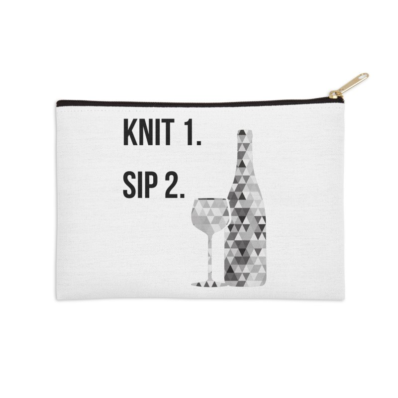 Knit One, Sip Two. - Black Accessories Zip Pouch by thespinnacle's Artist Shop
