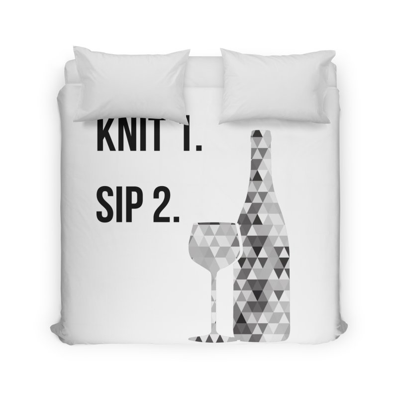 Knit One, Sip Two. - Black Home Duvet by thespinnacle's Artist Shop