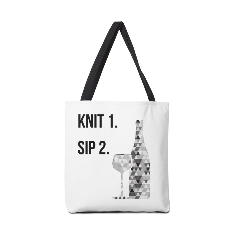 Knit One, Sip Two. - Black Accessories Tote Bag Bag by thespinnacle's Artist Shop