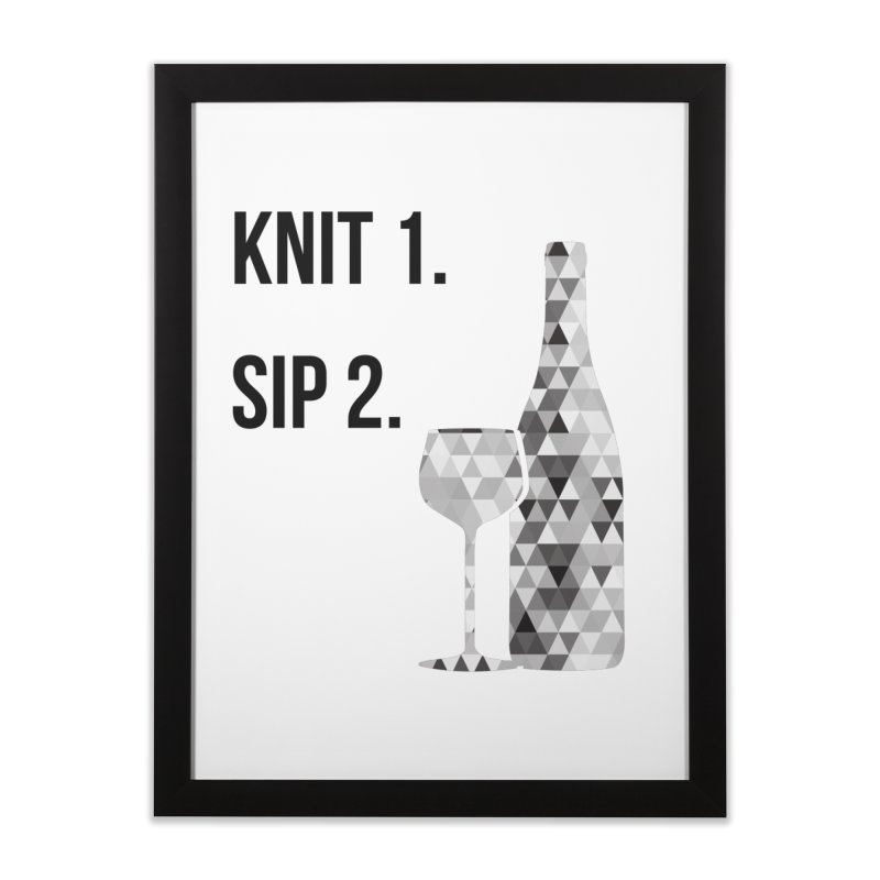 Knit One, Sip Two. - Black Home Framed Fine Art Print by thespinnacle's Artist Shop