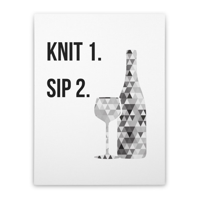 Knit One, Sip Two. - Black Home Stretched Canvas by thespinnacle's Artist Shop
