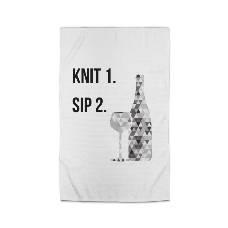 Knit One, Sip Two. - Black Home Rug by thespinnacle's Artist Shop