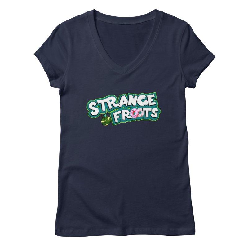 Strange Froots Cereal Logo Women's Regular V-Neck by Strange Froots Merch