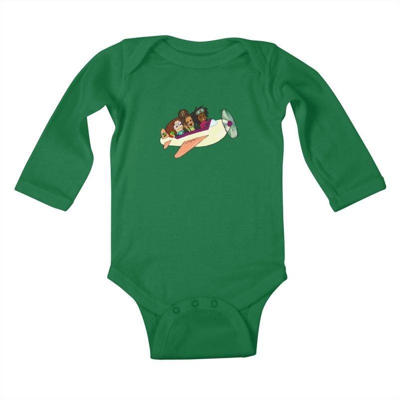 Froots Fly to Dakar Kids Baby Longsleeve Bodysuit by Strange Froots Merch