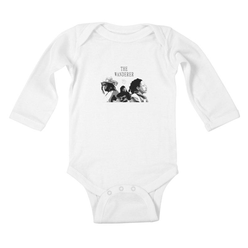 The Wanderer - Grayscale Kids Baby Longsleeve Bodysuit by Strange Froots Merch