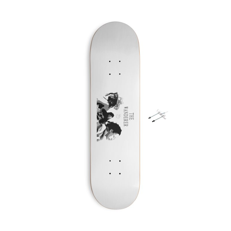 The Wanderer - Grayscale Accessories With Hanging Hardware Skateboard by Strange Froots Merch