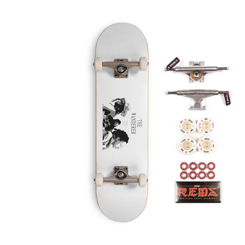 The Wanderer - Grayscale Accessories Complete - Pro Skateboard by Strange Froots Merch