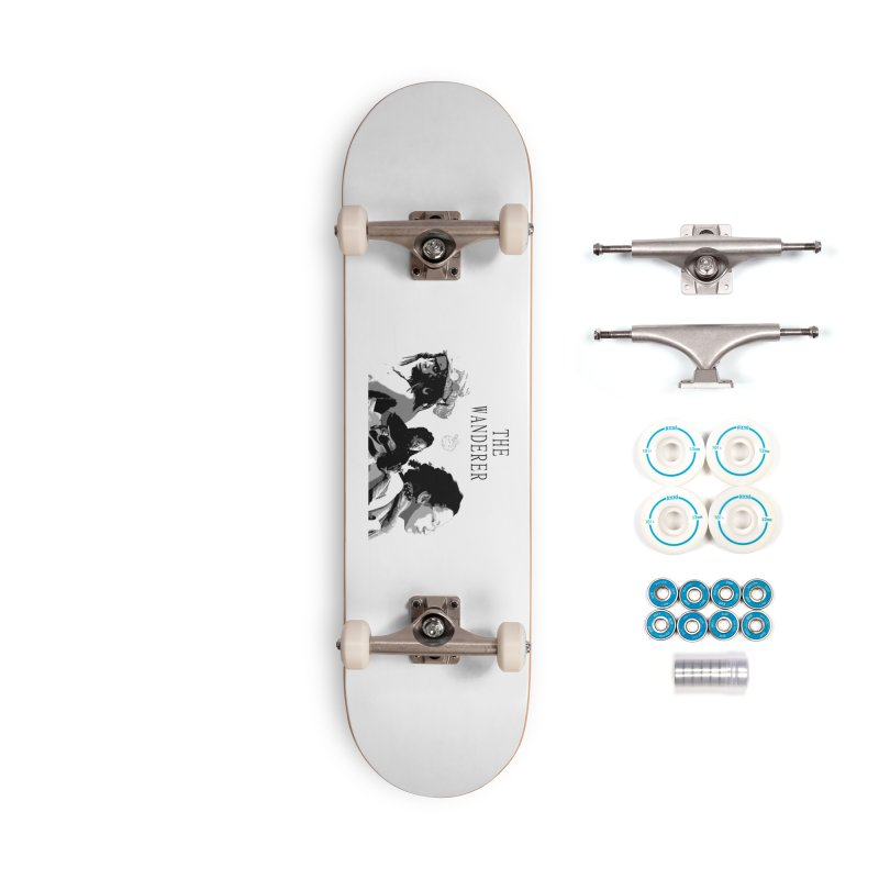 The Wanderer - Grayscale Accessories Complete - Basic Skateboard by Strange Froots Merch