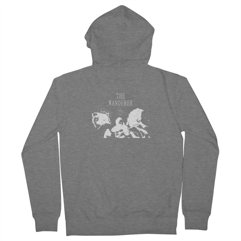 The Wanderer - Monochromatic White Men's French Terry Zip-Up Hoody by Strange Froots Merch
